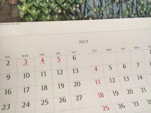 2017年のカレンダー