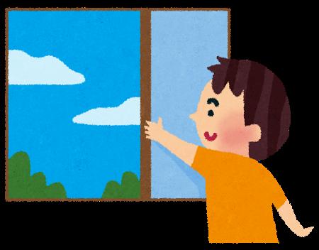 窓をあけて換気